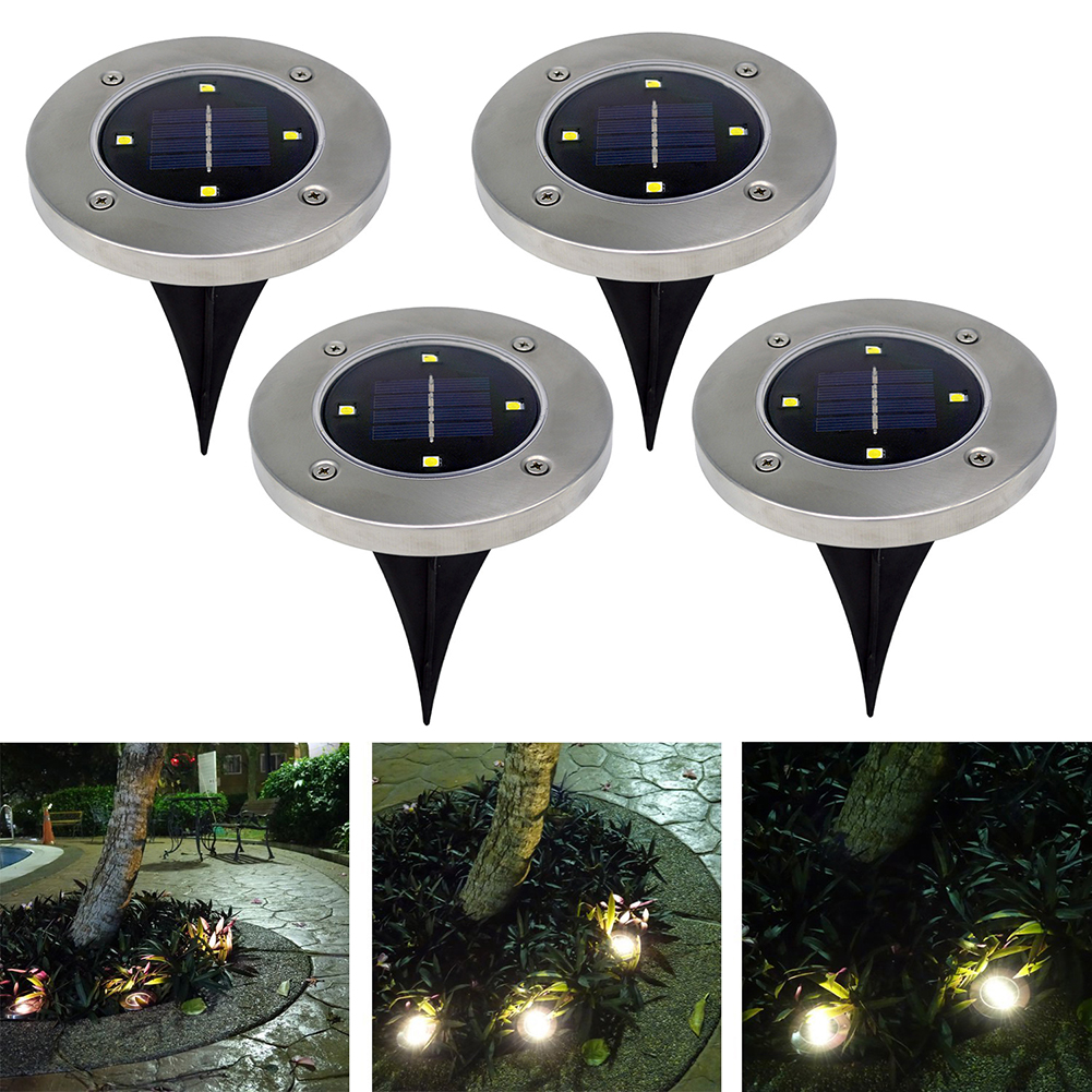 Led Outdoor Solar Buried Floor Lights 4LED Stainless Steel Ground Floor Light Lamp Outdoor Light