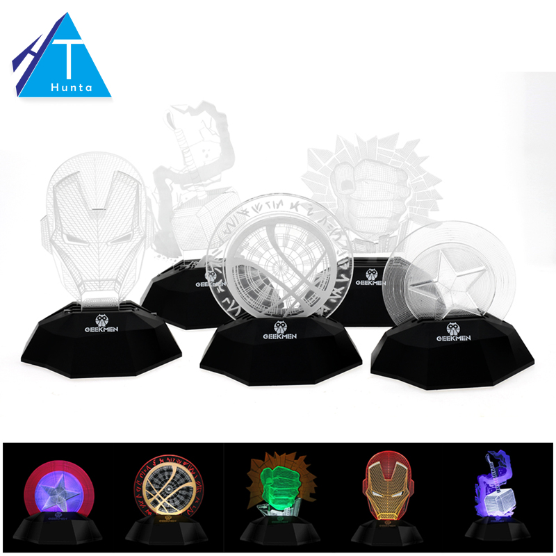 3D Optical Illusion Desk Night Light Captain America/Iron Man Helmet Head Design Party Grow Decor 3D Line Lamp Novelty Lighting