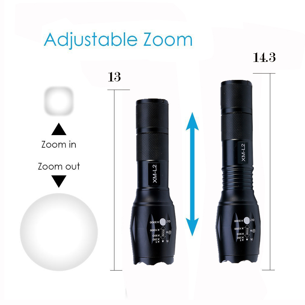 8000Lumens CREE XML L2 Tactical USB LED Flashlight Fishing Torch Zoomable Light Waterproof Lamp Outdoot Lighting with USB Cable