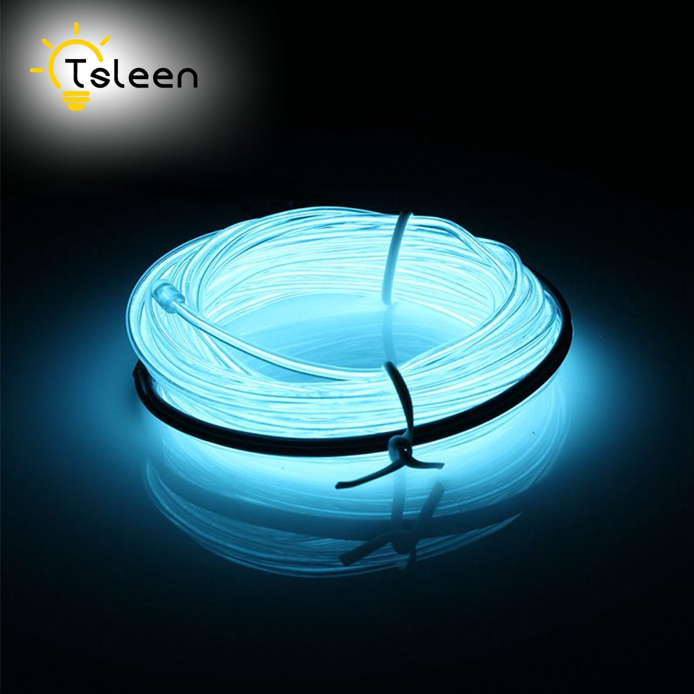 TSLEEN 8Pcs 2M 3M 5M Neon Light Party Decor Cord Neon LED lamp Flexible EL Wire Neon Light Rope LED Strip Waterproof For Car