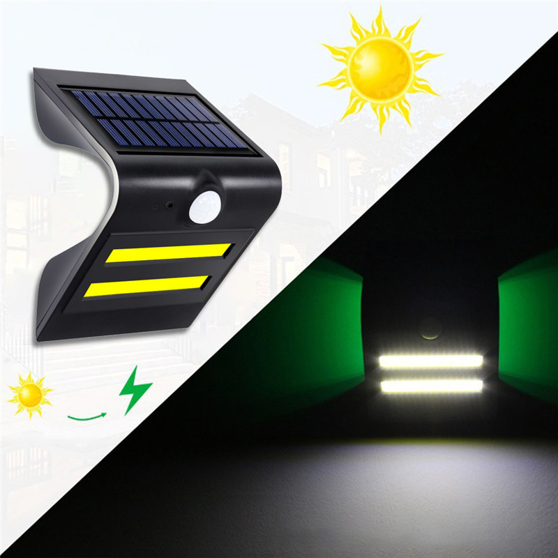 COB LED Solar Street Light PIR Motion Sensor LED Wall Lamp Garden Yard Street Outdoor Security Light with 18650 Lithium Battery
