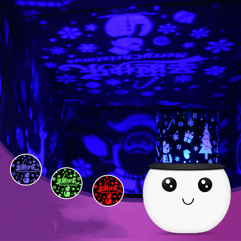 Cute Snowman Charging USB LED Projector Lighting Lamp Romantic Sky Beddroom Home Decoration Kid's Birthday Gift Night Light