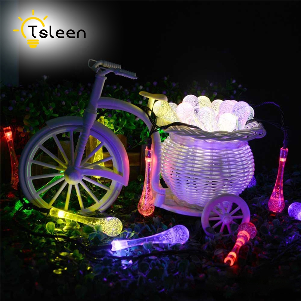 TSLEEN 1PC Water Drop LED Fairy String Light Solar Powered Outdoor Lighting Wedding Christmas Party Decoration Outdoor 7m 5OLeds