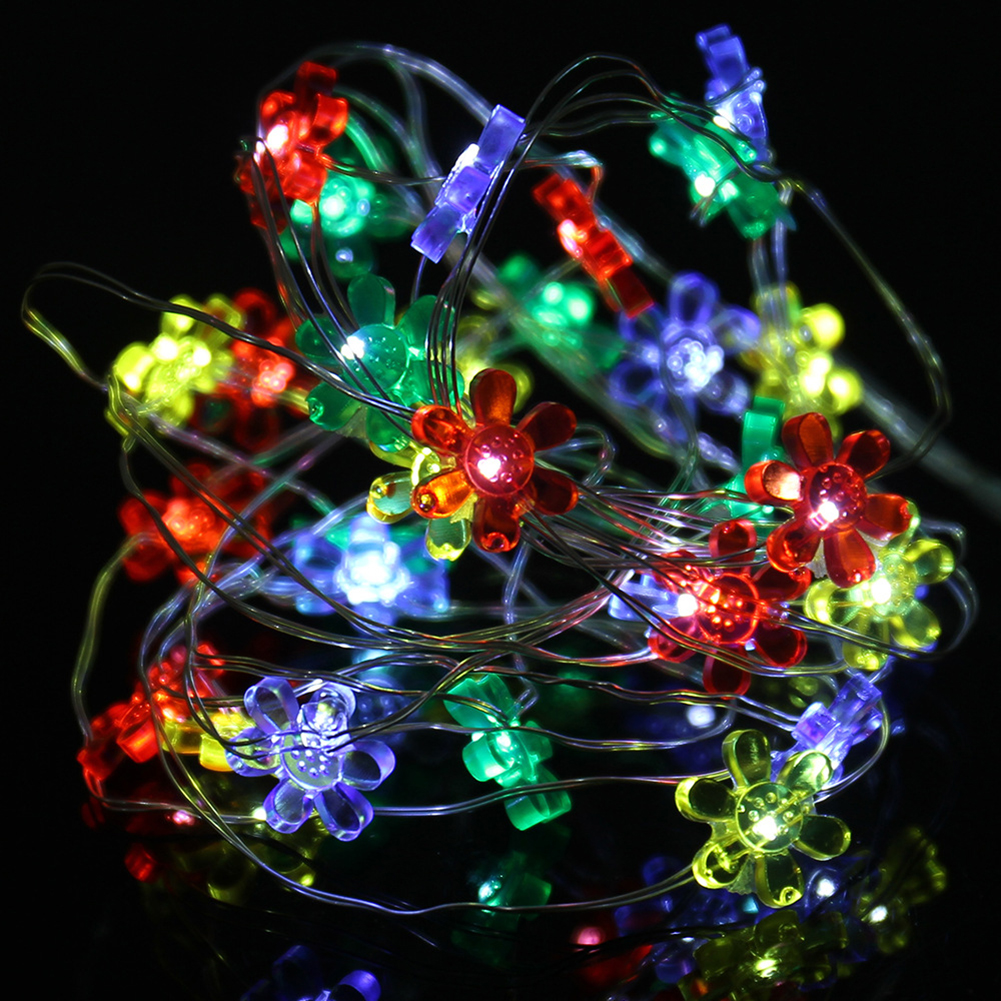 2M 20LED Holiday LED String Light Sun Flower Shape Button Battery Powerd for Fairy Christmas Tree Wedding Party Decoration lamp