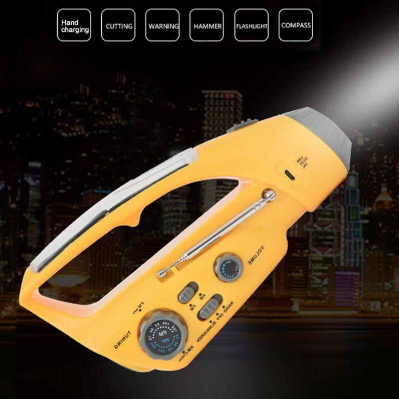 Outdoor Caming Safety Hammer Phone Charger Solar Power LED Flashlight Lamp Torch