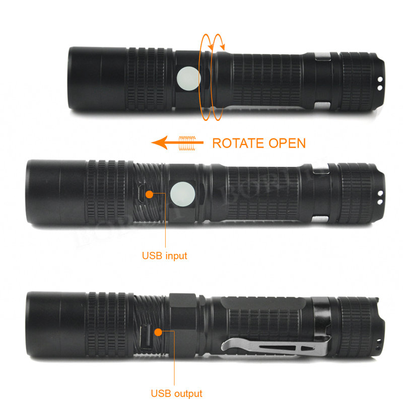 Boruit 1000LM XM-L2 U2 LED Tactical Flashlight 5-mode USB Micro-USB Rechargeable Portable Torch Emergency Light by 18650 Battery