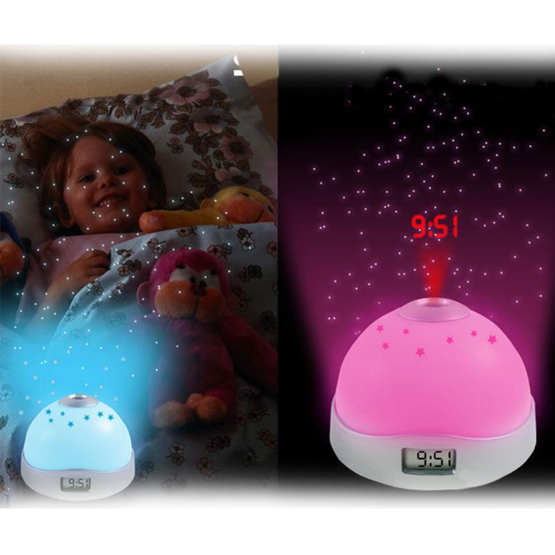 Fashion Colorful Night Light Star Sky Projection Clock LCD Projection Clock Living Room Study Bedroom Night Light Lamp