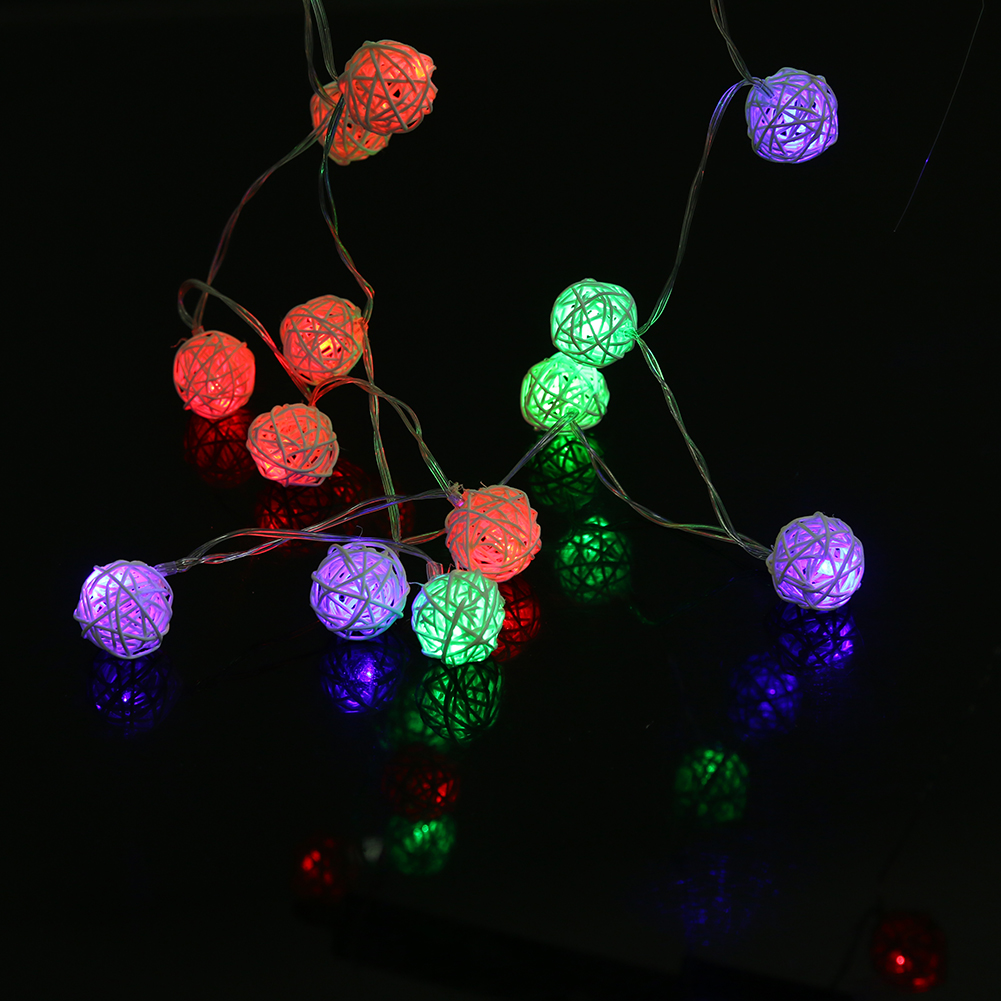 2.2m 3 Colors Flashing Rattan Ball String Lights 20 LEDs Christmas Indoor Outdoor Light Festival Party Garden Decor Light