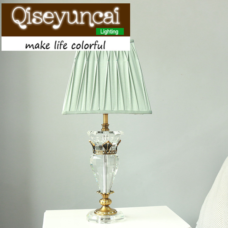 Qiseyuncai European style cozy bedroom 3 color K9 crystal table lamp modern simplicity luxury high-end fashion lighting