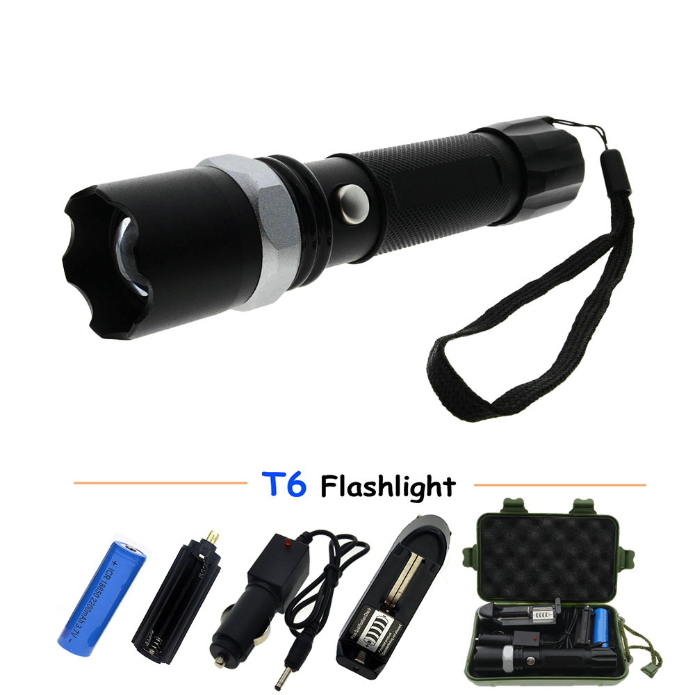 LED Flashlight XM-T6 5000LM Aluminum Waterproof Zoom rechargeable Tactical Flashlight Torch 5 Mode Torch Lamp