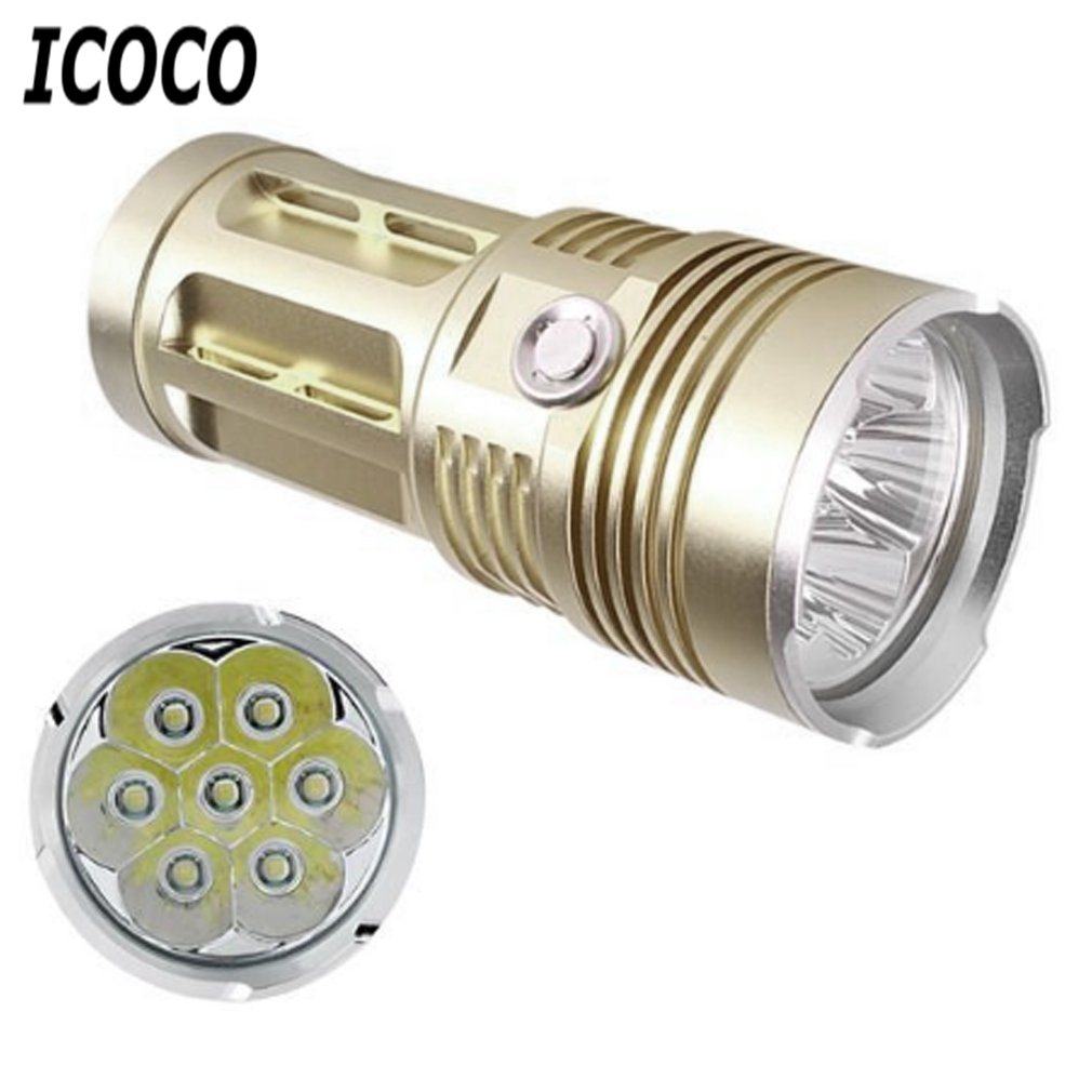 ICOCO 7 LEDs Aluminum Alloy Super Bright High Power Flashlight Lamp 1200LM for Outdoor Camping Fishing Hiking 25W New Arrival