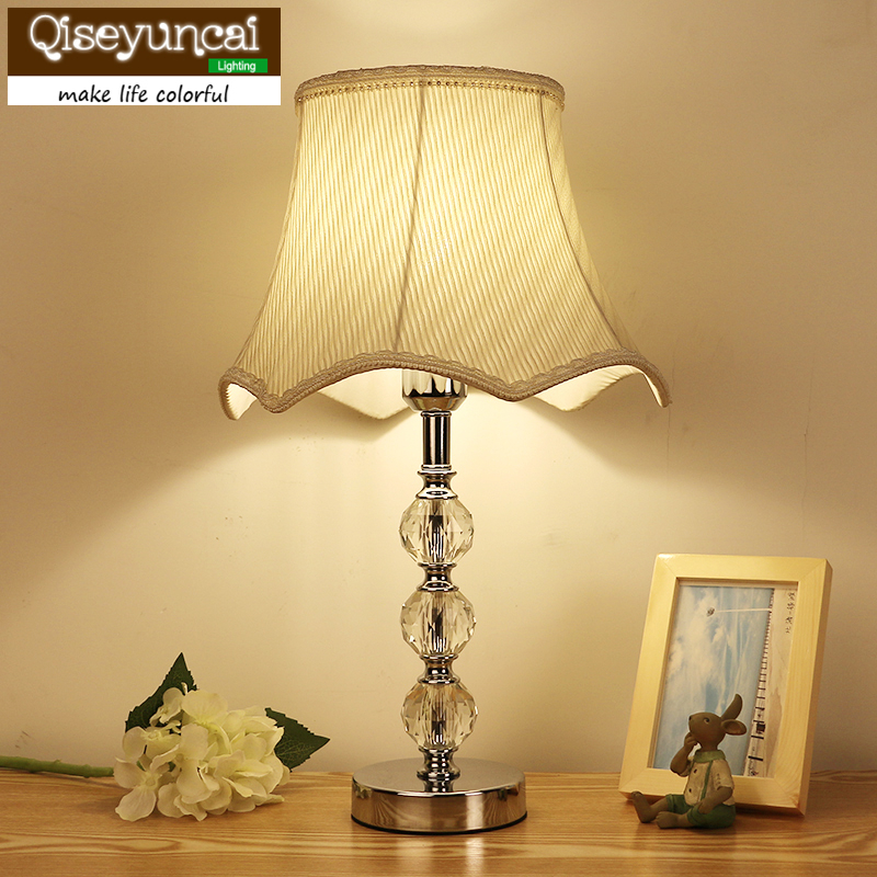 European crystal table lamp bedroom bedside lamp creative warm decorative lighting Qiseyuncai