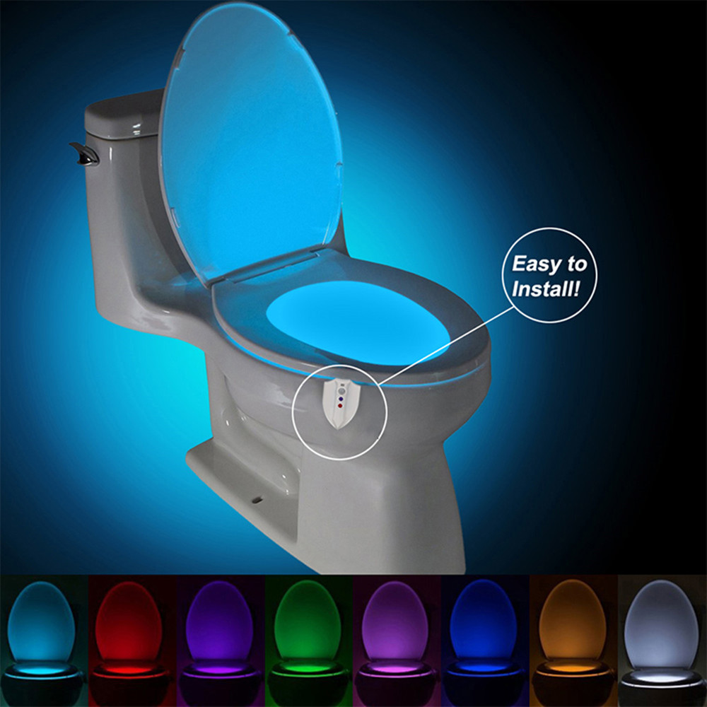 UV Sterilization Toilet Light Motion Sensor Activated RGB PIR LED Night Light IP65 Battery Operated Creative Toilet Bowl Lights