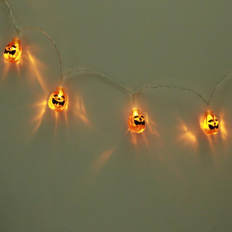 2.5M 20LED Flat Pumpkin String Light Translucent Orange Jack-O-Lantern Battery Powered for Halloween Party Christmas Decoration