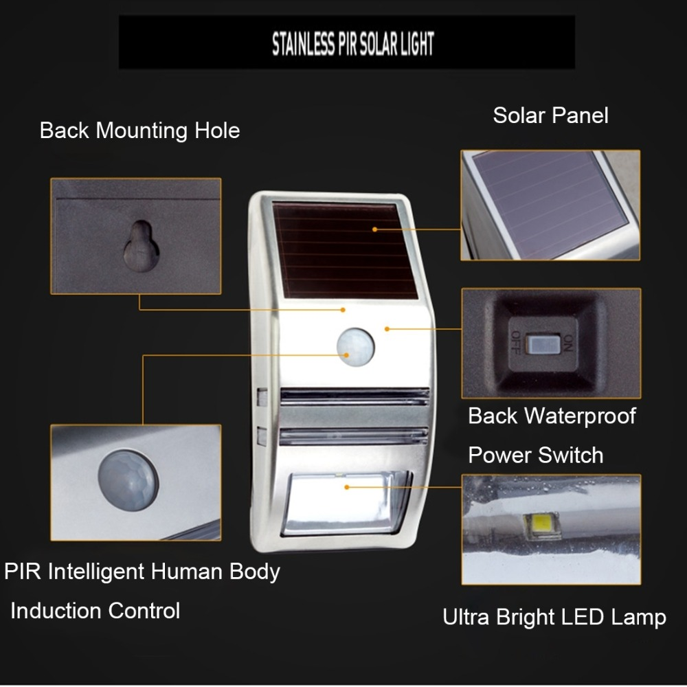 LAMPZOOE CL-102 0.2W 80 LM 6000-6500K White Light PIR Sensor Solar Light Wall Light Outdoor Light with 5V 0.5W Solar Panel