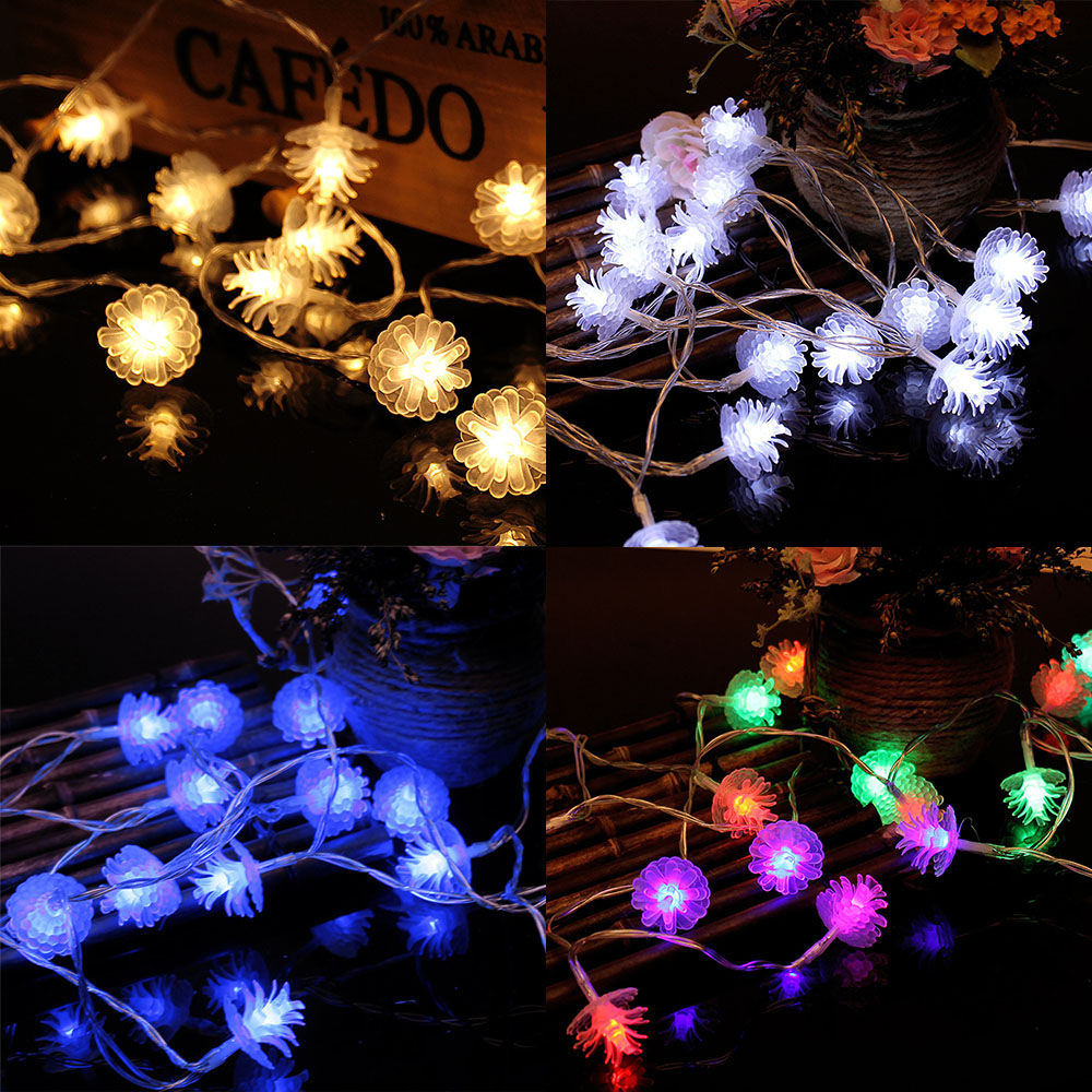 2m 20LED string light Pine nuts decoration new year festival party home playground decoration LED light battery powered P0.2