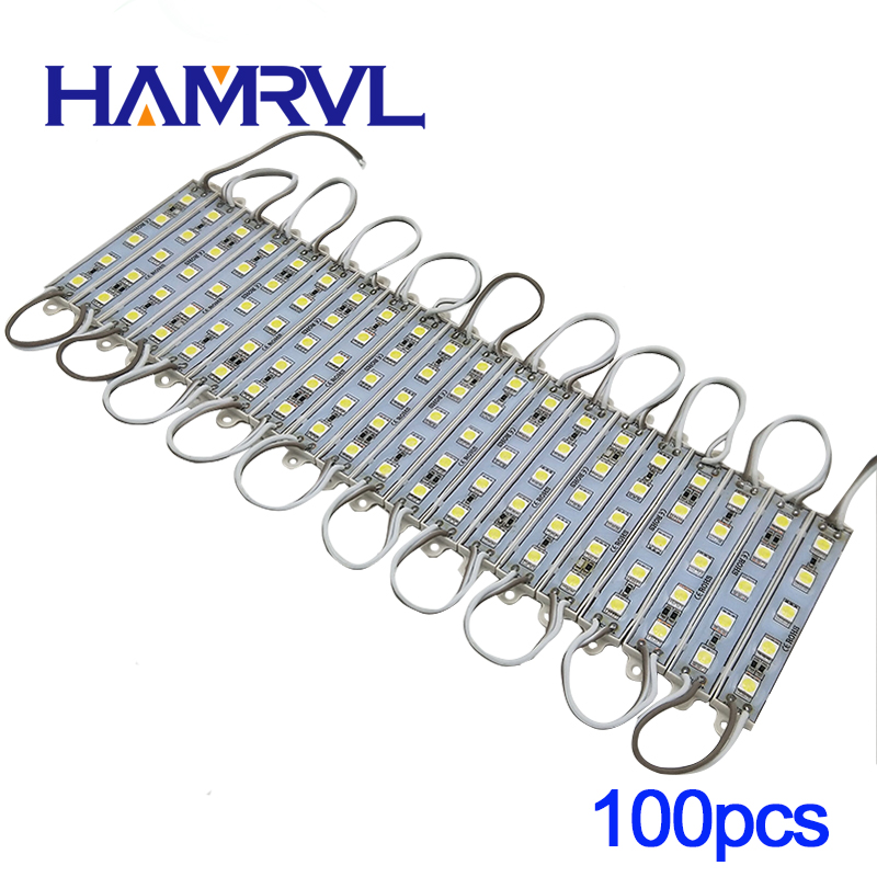 5050 5 LED Module lighting DC12V Waterproof led modules,White / Warm white / Red / Green / Blue color,100PCS/lot