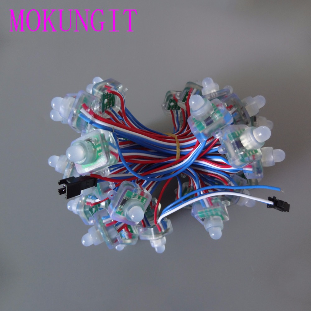 300pcs T1515 WS2811 12mm 1 led pixel module F8 RGB node IP68 LED RWB string T1515 square outdoor advertising lamp light DC5V 12V