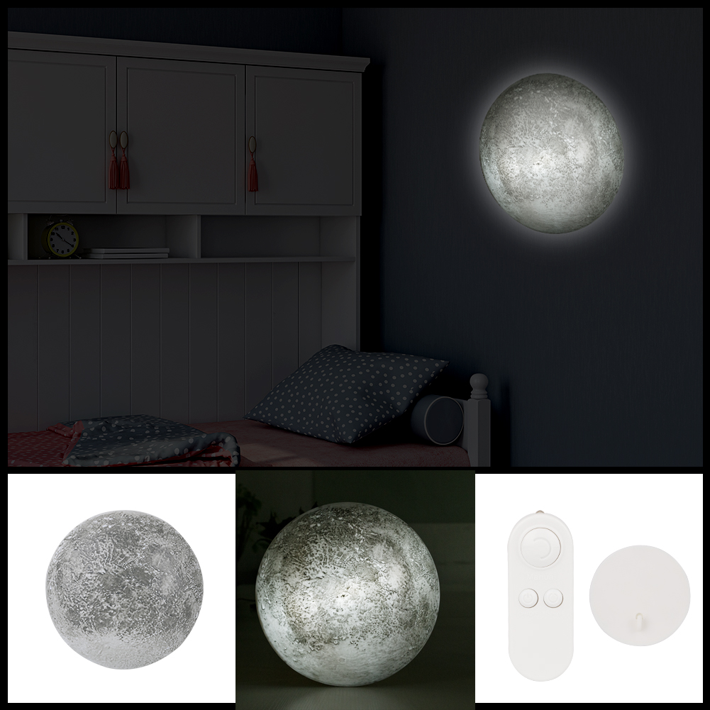 Mysterious Planet LED Night Lights Healing Remote 3D Full Moon Battery 12 Kinds Phase LED Wall Moon Lamp