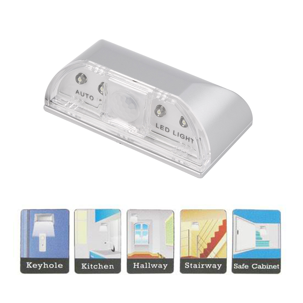 PIR Infrared IR Wireless Auto Sensor Motion Detector Keyhole 4 LED Light lamp
