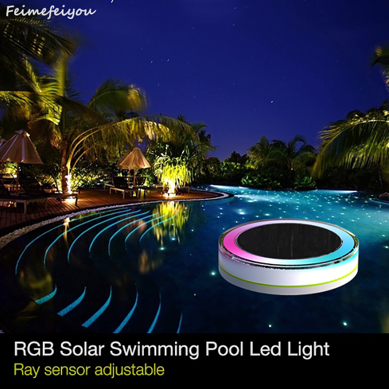 Feimefeiyou RGB Remote Control Solar Power LED Colorful Swimming Pool Light Garden Waterproof Floating Lamp IP68 camping outdoor