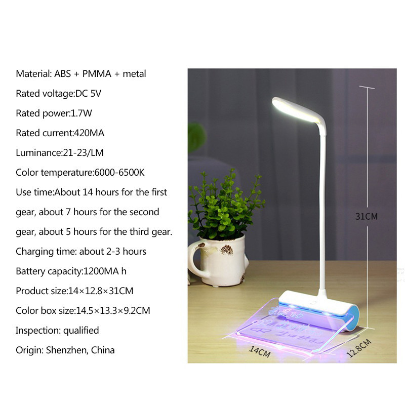 LAIDEYI Portable Touch Control Desk Lamps Fluorescent Message Board Night Light 3 Level Dimmable USB Port Eye Care Book Lamp
