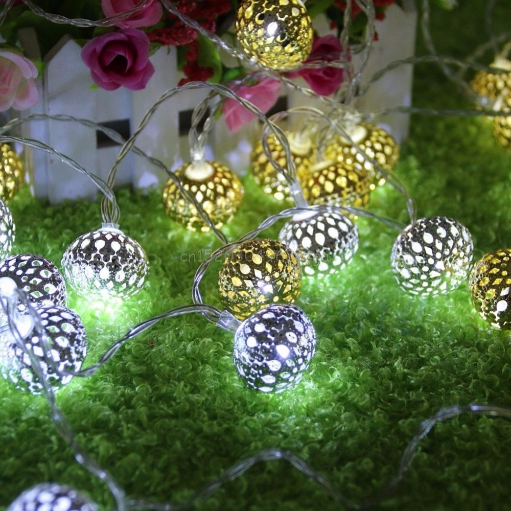 Moroccan Romantic 20LED Gold Metal Ball String Fairy Light Lamp Xmas Decoration #H028#