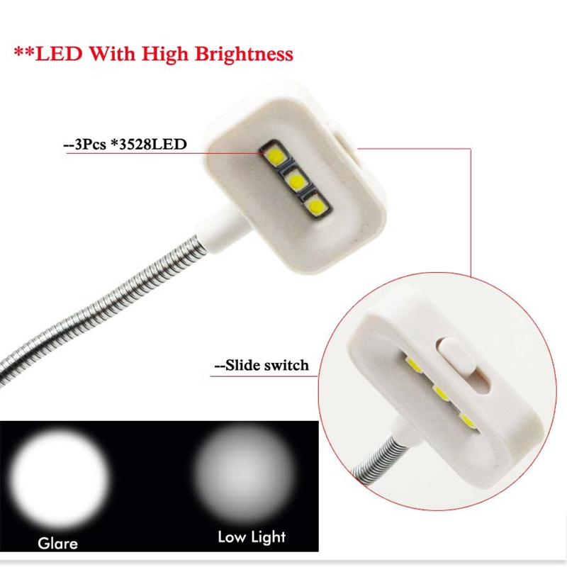 Portable USB / Solar Charging LED Solar Light Mini Flexible Goose Neck Clip On Book Reading Light