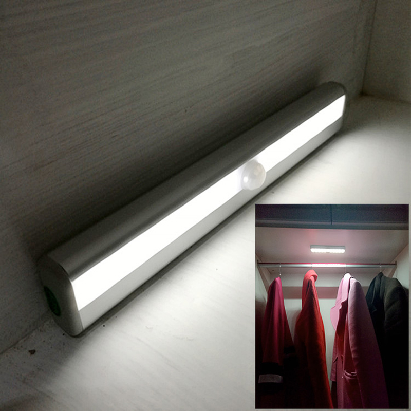 Motion Sensor LED Night Light IR Infrared Cabinet Night Lamp Wardrobe Lights Battery Powered 10 LED Wireless LED Closet Light