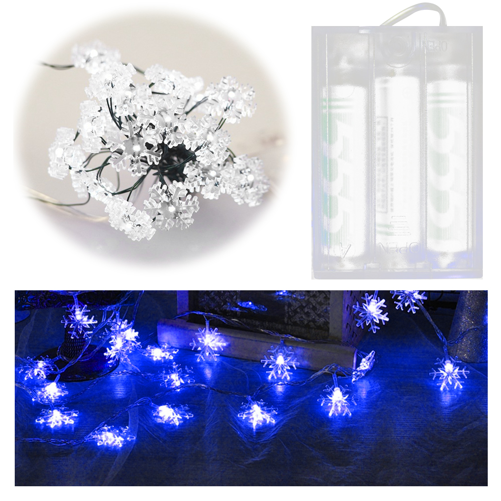 2M 20 LED Battery Powered Snowflake Design String Lights Lamp for Home Wedding Christmas