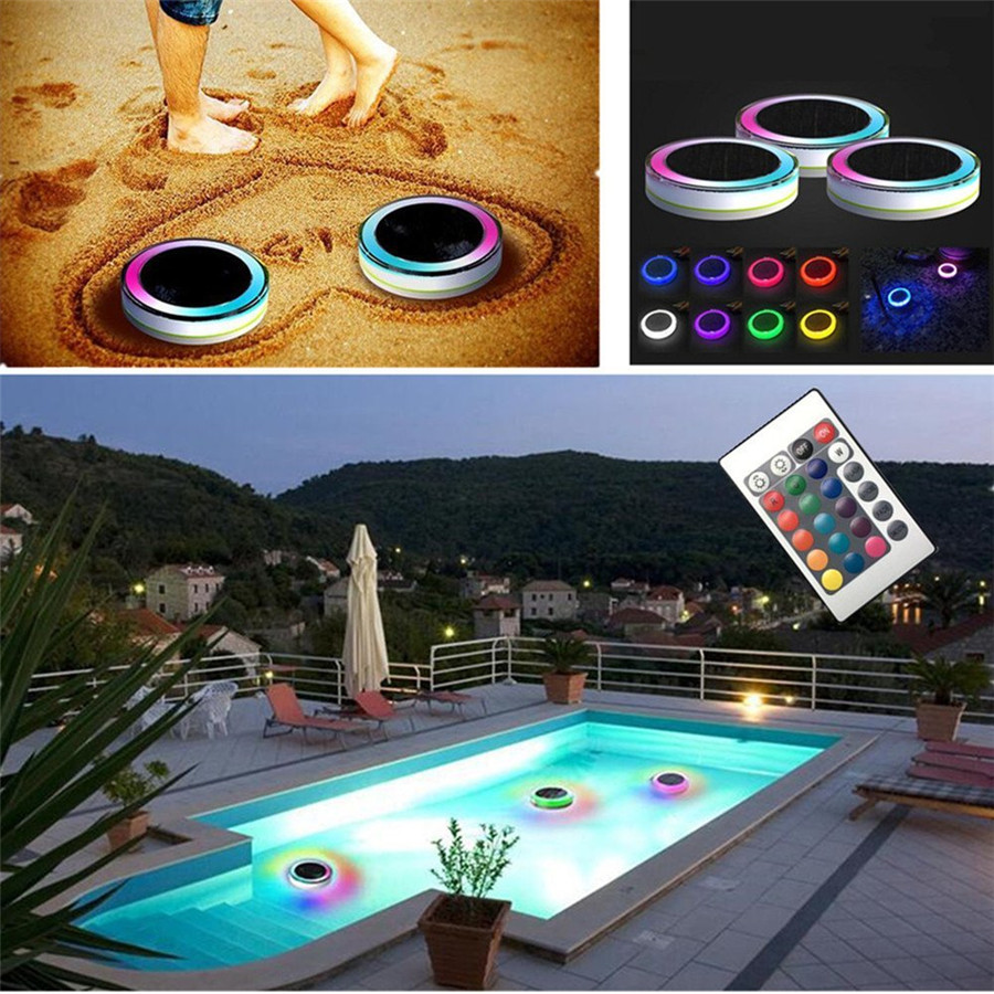 Thrisdar Solar RGB Underwater Fountain Light IP68 Waterproof Pool Pond Floating Light Fish Tank Aquarium Party Bar LED Light