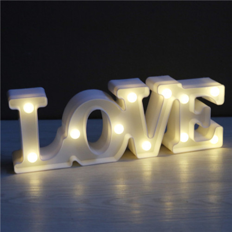 Luminaria New Romantic LOVE Letter LED Night Light Marquee LOVE Sign 3D Figure Decor Lamp Wedding Birthday Couple Lovers Gifts