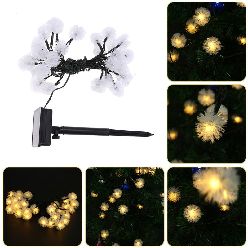 30LED Solar Power String Dandelion Fairy Light Solar Garlands Garden Christmas Party Decor For Outdoor Warm White Lamps