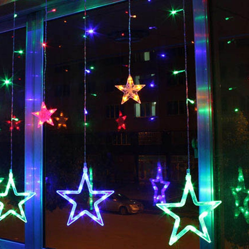 Lovely AC220V-240V 138 LEDS Strobe Light Christmas Stars Style Decorative String Light for Christmas Parties Wedding New Year