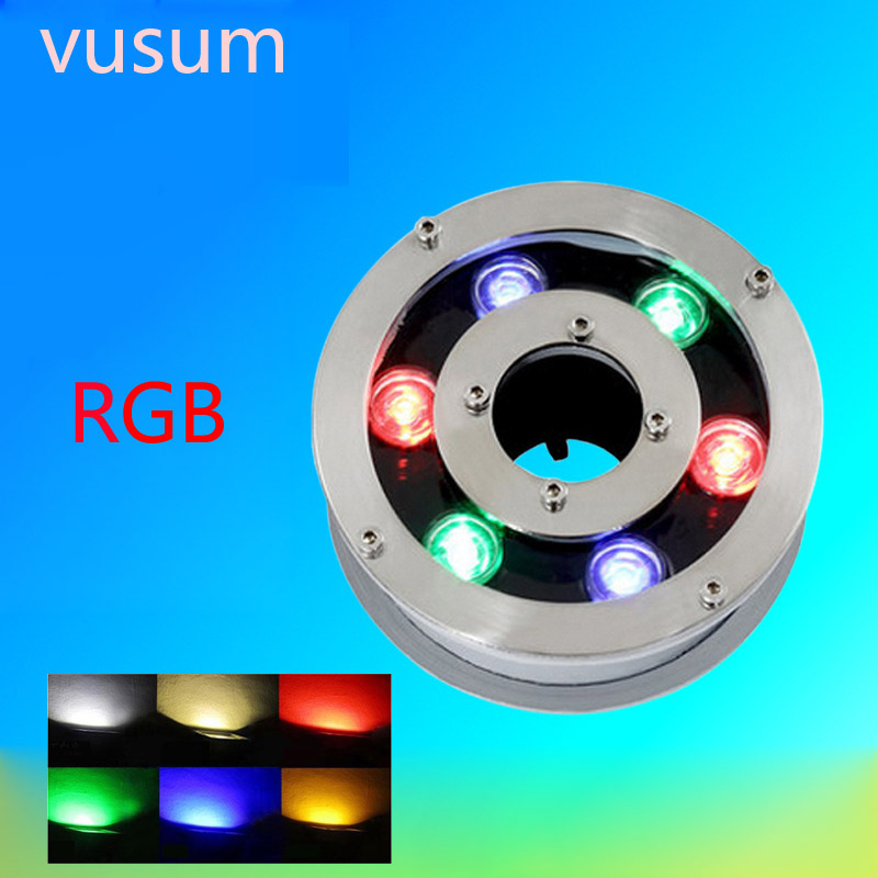 waterproof RGB 6W 9W 12W 18W LED underwater lights swimming pool submerged freshwater fish tank vase lamp swimming pool decorati