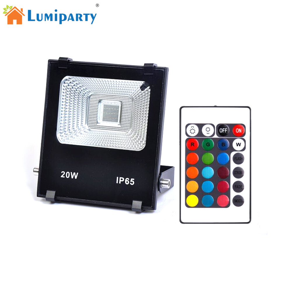 LumiParty High Power 20W RGBW LED Project Lamp Light Led Panel Waterproof Timing Changing Color Light Remote Controller Lighting