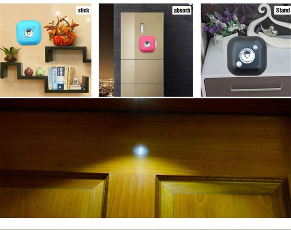 LED motion sensor night light Mini Wireless Infrared Motion Sensor Ceiling Night Light Battery Powered Porch Cabinet Lamp