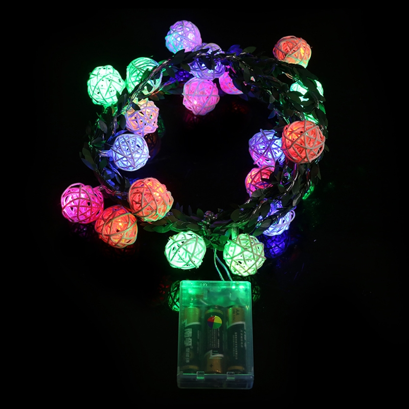 20 LED 2.1m Waterproof Rattan Ball Fairy String Light Battery Operated Xmas Party Decor L15