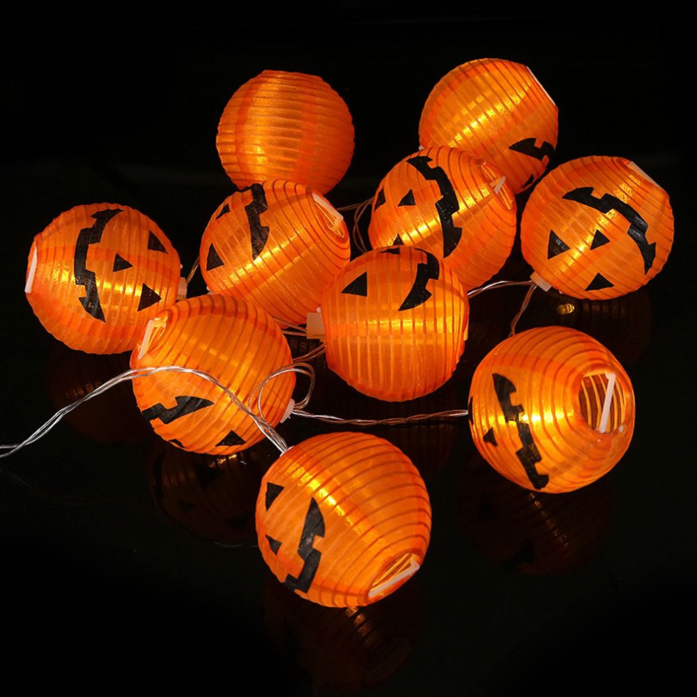10pcs LED Hanging Halloween Pumpkin Lantern 3D DIY 7cm Strings Lights  Lamp Props Outdoor Home Party Decor Scary Battery-powered
