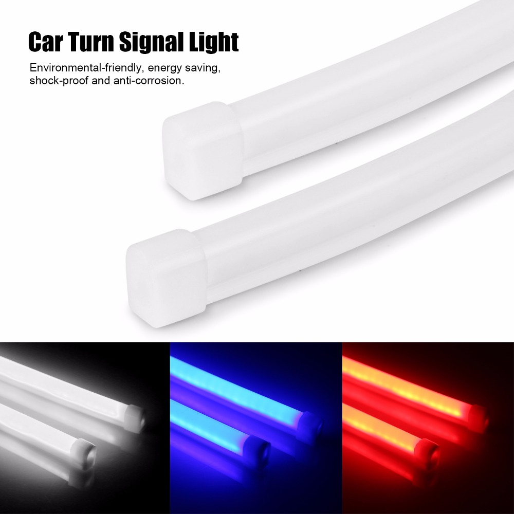 "AOZBZ 2pcs 60cm/24"" Turn Signal Flexible Soft Tube Guide Car LED Daytime Running Light DRL Brake Light Blue/White/Red 12V"