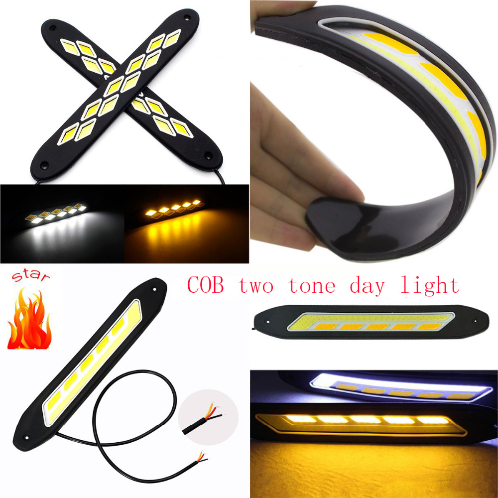 New 2PCS Car-Styling Daytime Running Driving Light White and warm Waterproof COB Day Time Work Lights Flexible LED DC12V