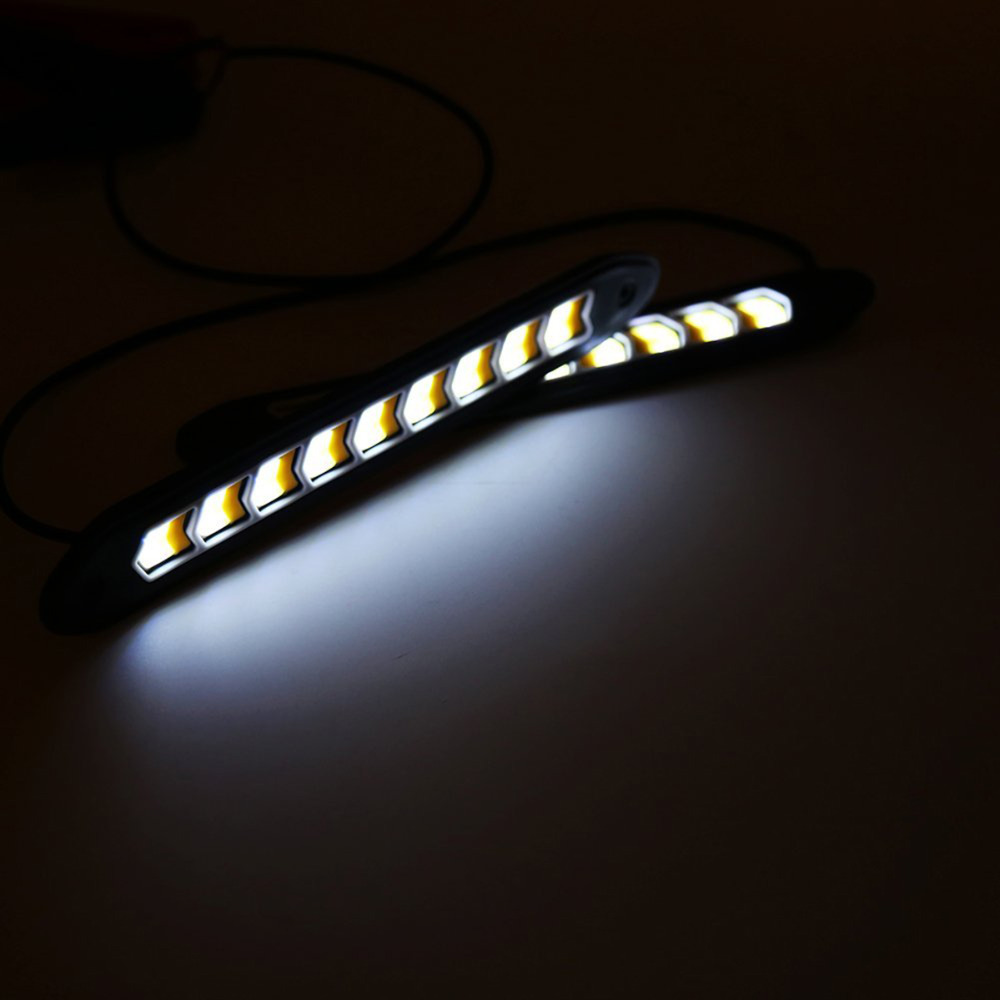 2PCS Car-Styling Daytime Running Driving Light White and warm Waterproof COB Day Time Work Lights Flexible LED DC12V