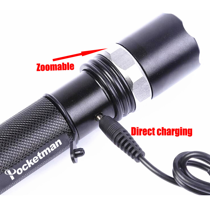 Pocketman Flashlight Cree Lantern Tactical Rechargeable Led Flashlight Zoomable 18650 Lampe Torche Linternas Lamp for Camping