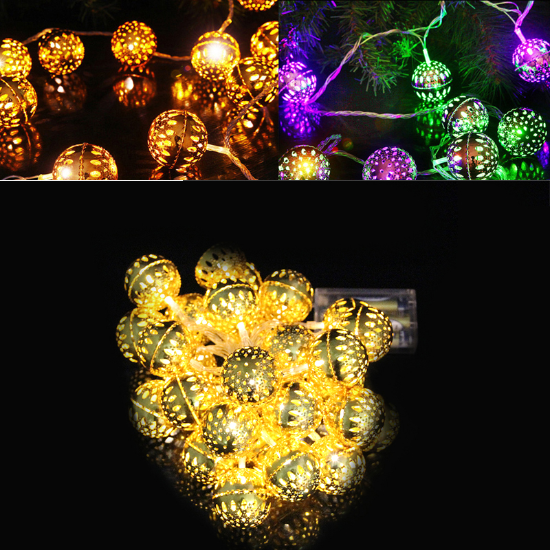 2m 20 LED Rattan Ball String Light Moroccan Orb Lantern Lamp Wedding Party Home