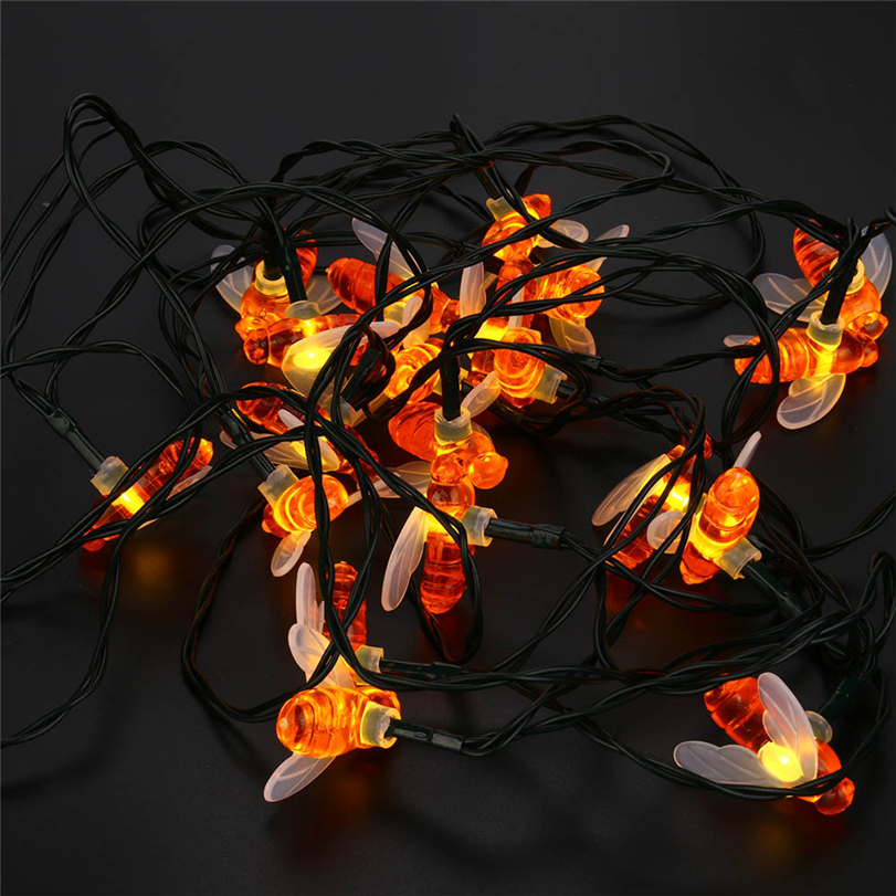 New 20 LED Solar String Honey Bee Shape Warm Light Garden Decoration Waterproof Home Decor Energy Saving LED Lamp Drop Shipping