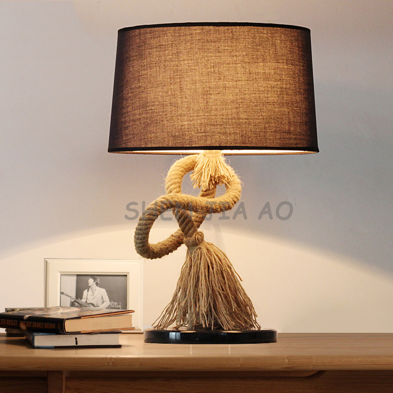 110/220V 1PC Creative hemp rope table lamp art retro cloth bedside table lamp decorated with hemp rope study lighting