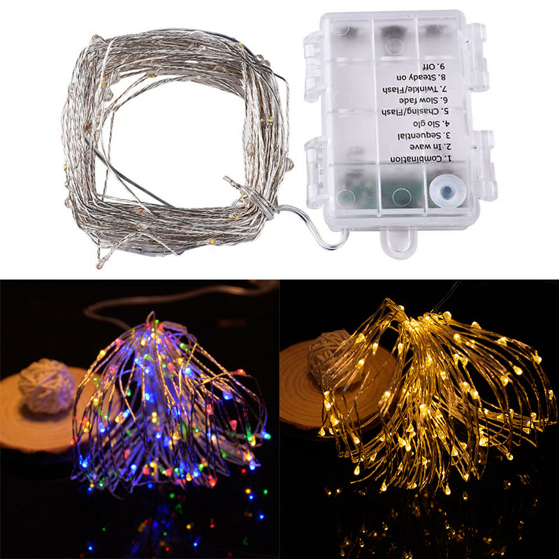 New 10m 100led 8 modes Battery powered Copper wire LED String Light Christmas Light for Wedding Party Holiday Decoration Garland
