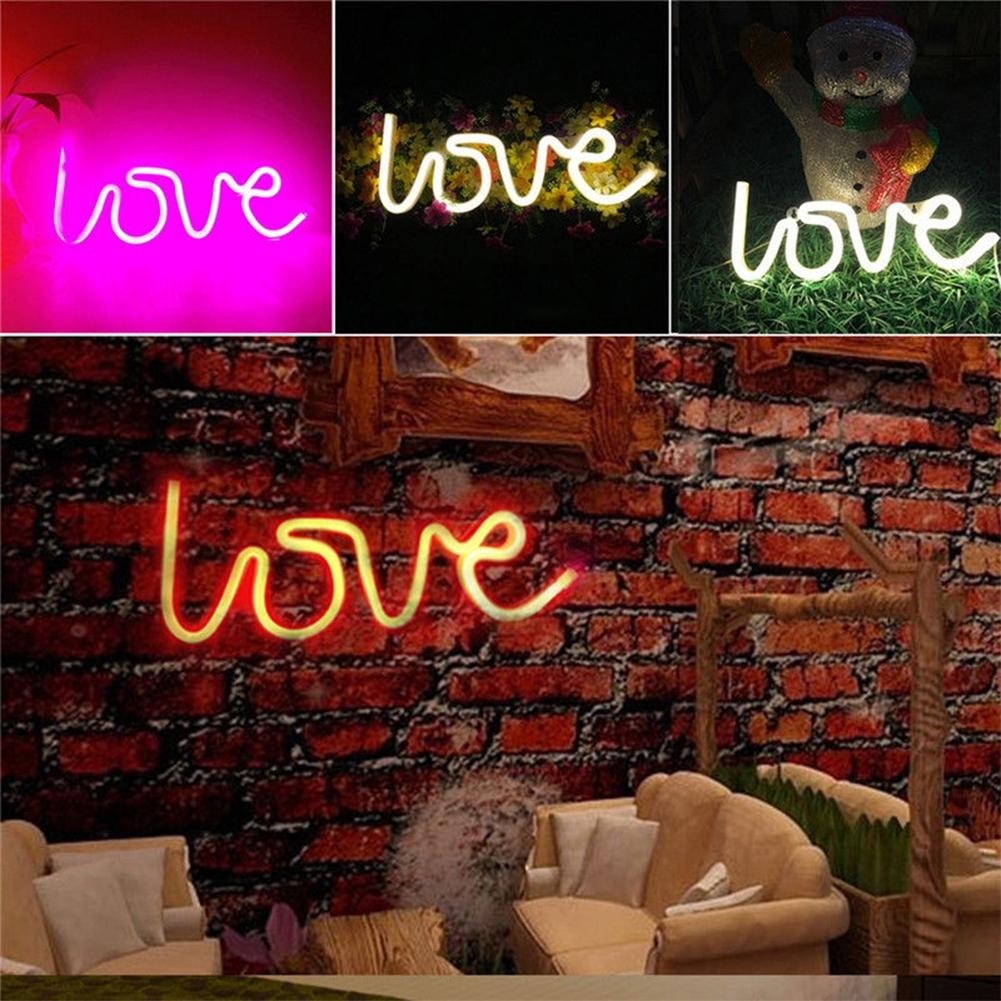 LumiParty LOVE Letters Shape LED Light Wall Hanging Neon Light for Festival Party Wedding Decor Night Light