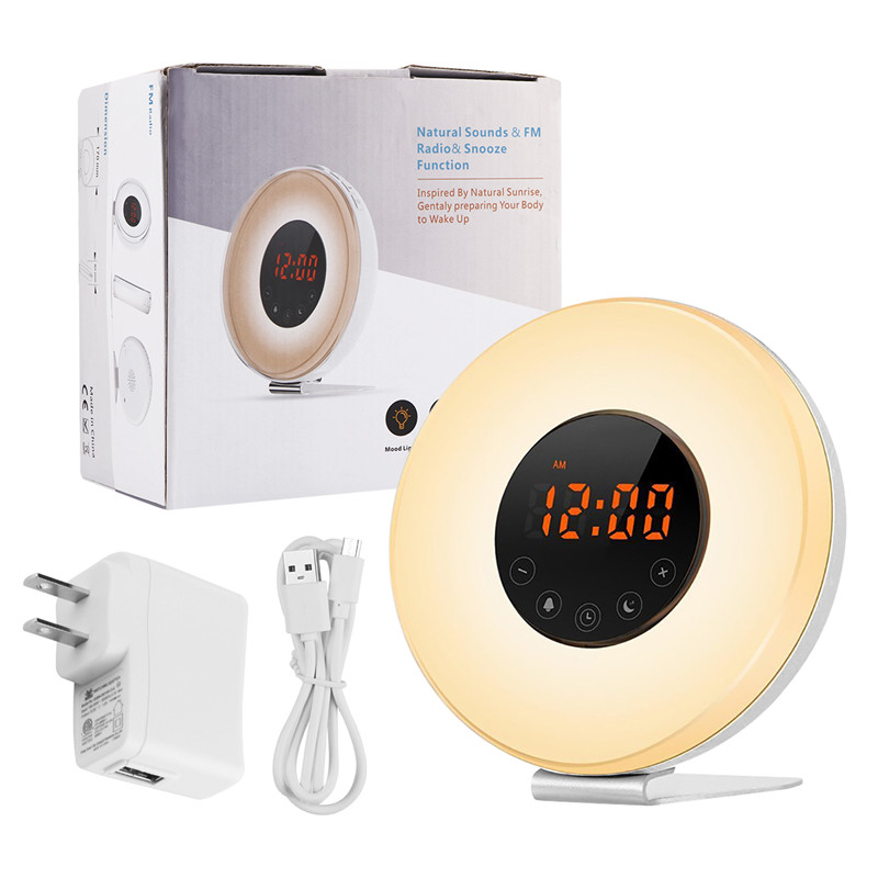 LemonBest Sunrise Sunset LED Lights with Digital Alarm Clock Wake Up FM Radio Electronic Alarm Clocks Touch Sensor Night Light