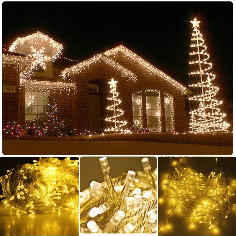 Warm White 50M 500 LED String Lighting Wedding Fairy Christmas Lights Outdoor Twinkle Christmas Decoration Outdoor EU Plug